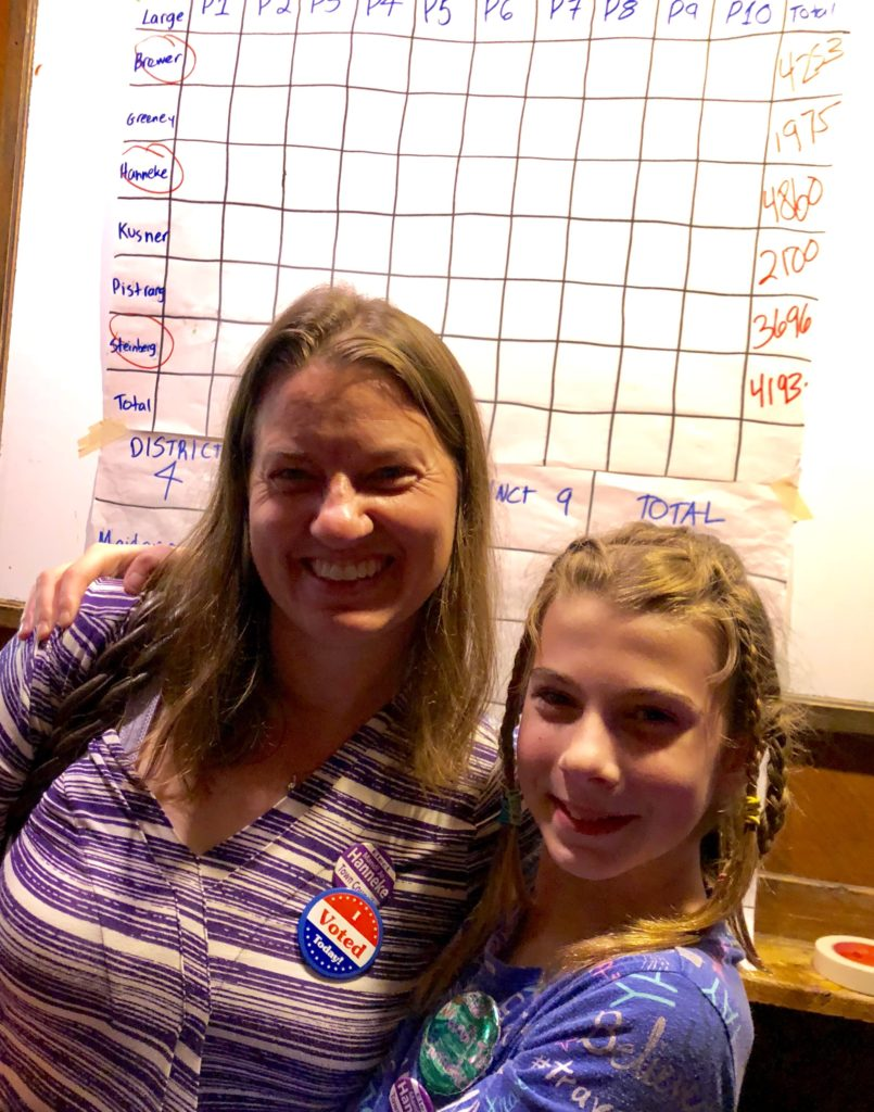 Mandi o with her daughter on election night